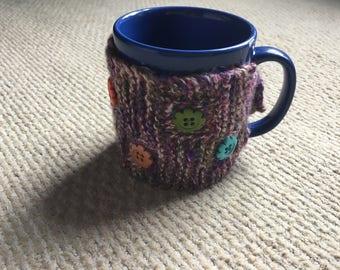Hand knitted mug hugger