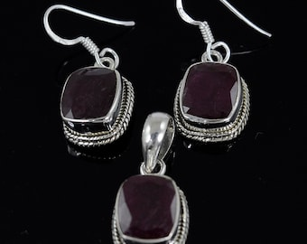 Ruby Jewelry Set : 925 Sterling Silver Natural Red RUBY Glass Filled Gemstone Cushion Bezel Set Pendant Earring Jewelry Set Gift For Her
