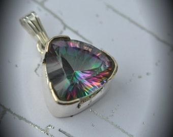 Genuine Solid Sterling Silver Faceted Mystic Quartz Pendant