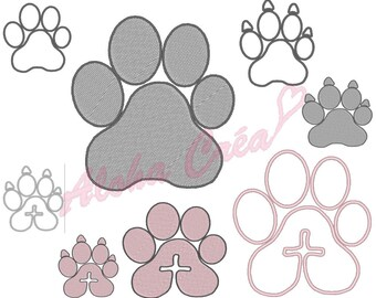 Machine Embroidery Design dog's or cat's paw shadow + applique (8 models) - Instant Digital Download