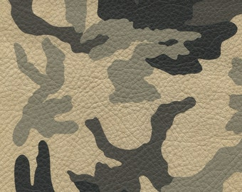 Camouflage Leather: Desert Beige Camo Cowside Leather - Natural Grain skins with beautiful handfeel