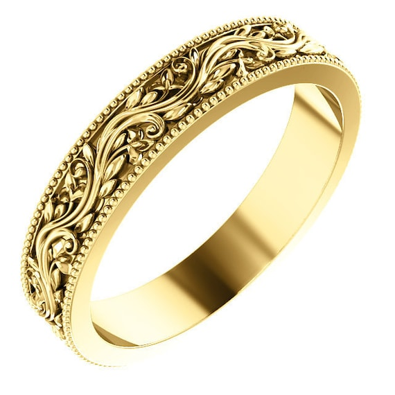 14K Yellow White Rose Gold Flower Design Wedding Ring Stackable Anniversary Band All Sizes Available