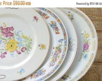 ON SALE Vintage Mismatched Dinner Plates Set of 4 Lunch Plates Tea Party French Country Wedding Bridal Replacement China & French china plates | Etsy