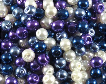Set of pearly beads 4 mm glass mix matched blue 1200 pcs
