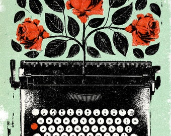 Typewriter Rose Print 8 x 10