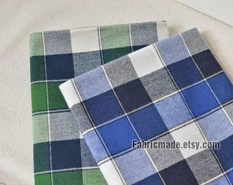 Plaid Cotton Fabric Blue Green Gray Plaid Brushed Cotton For Autumn Spring- 1/2 Yard