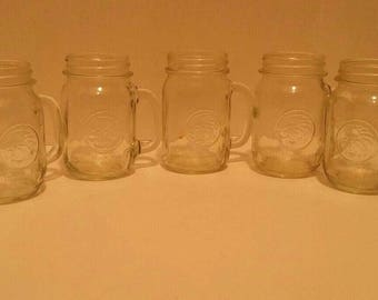 7 Golden Harvest Pint Mason Jars with Handle