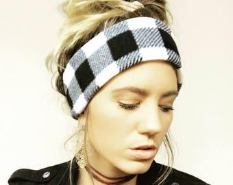 B&W Buffalo Plaid Fleece Headband