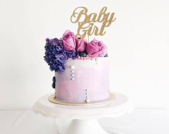 Baby Girl Cake Topper for Baby Shower, Gender Reveal Party, Birthday Party - Gold Glitter Cupcake and Cake Topper, Newborn Little One