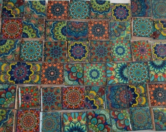 Ceramic Mosaic Tiles - Moroccan Tile Design Multi Color Moroccan Medallions Mosaic Tile 60 Pieces - For Mosaic Art / Mixed Media Art/Jewelry