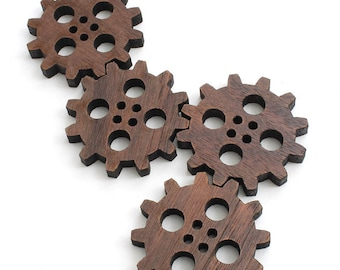 "Steampunk Clock Gear Wood Buttons 1 1/2"" - Laser Cut from Sustainable Harvest Wisconsin Wood - Timber Green Woods"