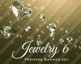 """Shop banner - Shop banner Set - Etsy shop banner set - Graphic banners - Banners - """"Jewelry 6"""""""