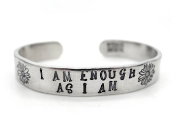 i am enough bracelet, i am enough jewelry, mantra bracelet, inspirational quote, flower bracelet, hand stamped jewelry