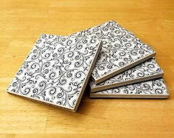 Coasters, Swirls, Ceramic, Tile, Abstract, Black, White, Design, Pattern, Flowers, Vines, 4x4