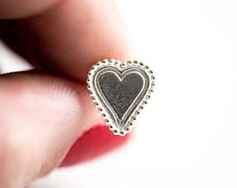 Silver gypsy soul heart earrings. Heart Studs. Day of the dead Jewelry. Sterling Silver Earrings. Bridal Heart. Ready to ship. My valentine