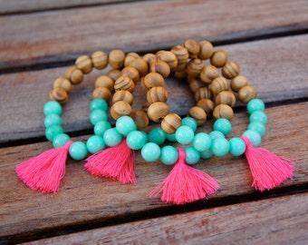 Wholesale Pink tassel bracelet - agate - beaded bracelet - Bohemian Jewelry - bulk order
