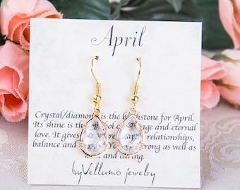 April Crystal Birthstone Earrings, Gold Teardrop Earrings White Drop Gold Earrings April Birthstone Jewelry Bridesmaid Gold Earrings