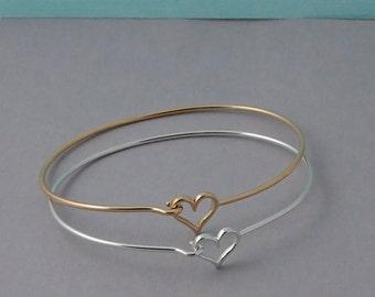 Sterling Silver or Gold Heart Bangle Bracelet / Layering bracelet / gold Heart bangle