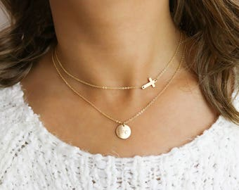 Layered Necklace Set, Minimal Gold Circle Necklaces, Delicate Gold Layering Necklaces • LNS101