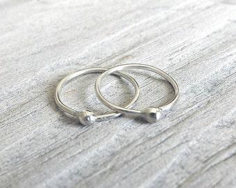 Silver Hoops Sleeper Earrings, Catchless Hoop Earring, Endless Hoops, Simple Minimalist Jewelry, eco friendly womens gift idea