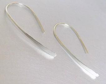 Long Sterling Silver threader earrings, Wishbone Earrings, open hoop earrings, simple everyday loop earrings, sterling silver 925 minimalist