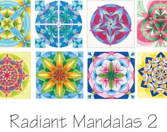 Set 2 Mandala Cards.  Reproductions of Original Acrylic Paintings.