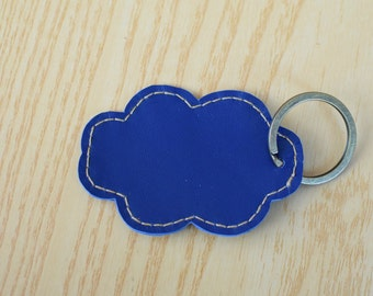 Leather keychain, leather keyring,cloud keychain,shapes keyring,cloud heart keychain,blue cloud keyring,blue keychain, cloud shape