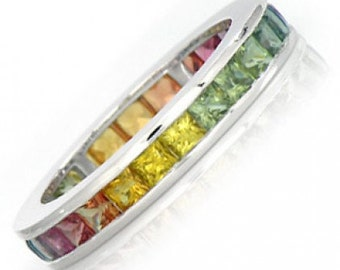 Multicolor Rainbow Sapphire Eternity Band Ring 18k White Gold (4ct tw) : sku R2045-18k-wg