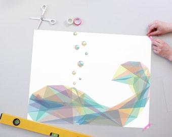Affiche de baleine bubbelige géométriques