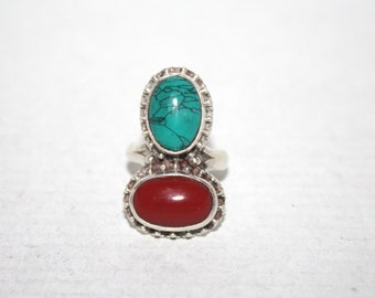 Turquoise Ring, Coral Ring, Sterling Silver Ring, Silver ring, Boho ring, Tribal Ring, Gypsy Ring, Navajo Ring, Turquoise jewelry BTS2