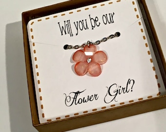 ask flower girl, will you be my flower girl, flower girl necklace,flower necklace,flower girl boxed gift set,flower girl gift,flowergirl