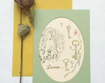Art Postcard with botanical illustration - Dream - Watercolor and hand stamped with antique stamp. Fine art. Hand painted. OOAK Card.