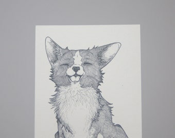 Corgi Postcard, Corgi Drawing, Corgi Puppy, Corgi Illustration, Corgi Pen Drawing, Corgi Ink Drawing, Corgi Puppy Art, Corgi Stationery