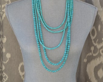 Long Multi Strand Turquoise Beaded Necklace