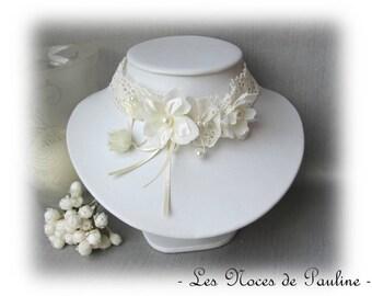 Ivory bridal flowers on lace, Fanny
