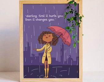 Girl In Rain, Girl Print, Inspirational Art, Motivational Print, Art For Girls, Digital Download, Rain Illustration, Illustration, darling