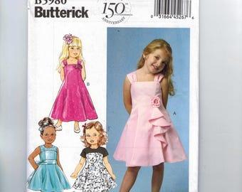 Girls Sewing Pattern Butterick B5980 5980 Girls Party Dress Flower Girl Princess Seams Size 2 3 4 5 Breast 25 26 27 UNCUT