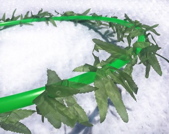 Silk Marijuana Leaf Hula Hoop - POLYPRO and HDPE Dance & Exercise Hula Hoop collapsible with push button maple leaf hemp green dabs