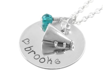 Cheerleader Necklace, cheer, stamped name, gifts megaphone, little girls personalized necklaces, custom team gift, niece, birthday BROOKE