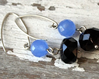 Chocolate and Blueberries- Quartz, Smoky Quartz and Sterling Silver Earrings