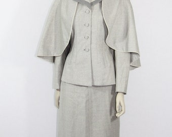 Reserved........1940s Suit - Gorgeous LILLI ANN Gray Wool Three Piece Suit - Jacket Skirt and CAPE