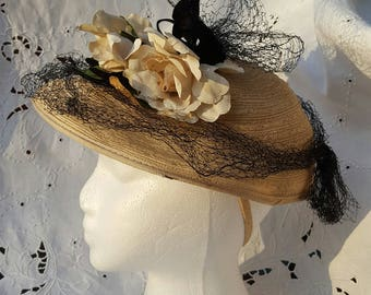 Easter Bonnet: Vintage Woven Hat with Velvet Ribbon, Netting and Artificial Flowers