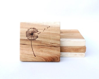 Wooden Coasters - rustic wooden coasters, Pyrography, handmade, home decor, gift, reclaimed wood coasters, wedding gift, Dandelion Design