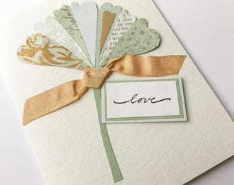 Handmade Card - ginkgo leaf,  original design - select your interior message - Love, anniversary, birthday, wedding