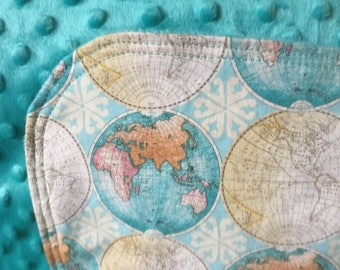 Travel baby blanket etsy adventure nursery map baby nursery travel nursery bedding globe nursery world map gumiabroncs Images