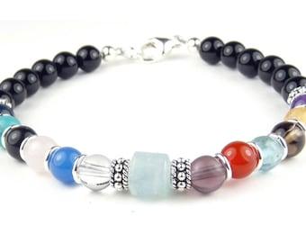 AA Jewelry Sobriety Bracelet Recovery Jewelry AA Anniversary Gifts Black Onyx AQUAMARINE March