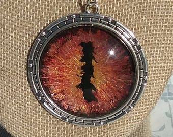 Hand Painted 50mm Lord of the Rings Eye of Sauron Fire Dragons Eye Necklace Pendant