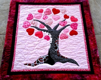 Art Quilt Heart Quilt Valentine Wall Hanging Sweetheart Quilted Hearts Tree Red Pink Black White Personalize A Heart