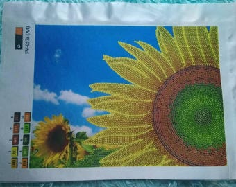 Flowers Sunflower Field Beaded Embroidery kit DIY Beadwork Bead Embroidery Kit DIY Set for embroidery Beaded Embroidery beads and canvas