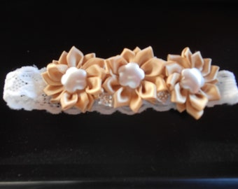 Baby Toddler Girl Headband Pick your choice of 3 styles and colors Satin Flowers rosettes with buttons